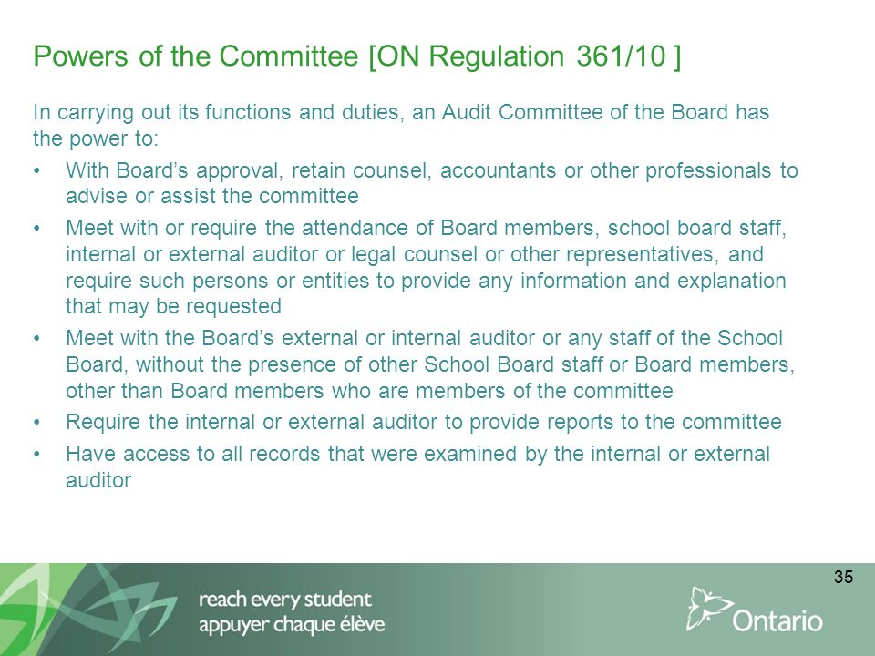 Powers of the Committee [ON Regulation 361/10 ]